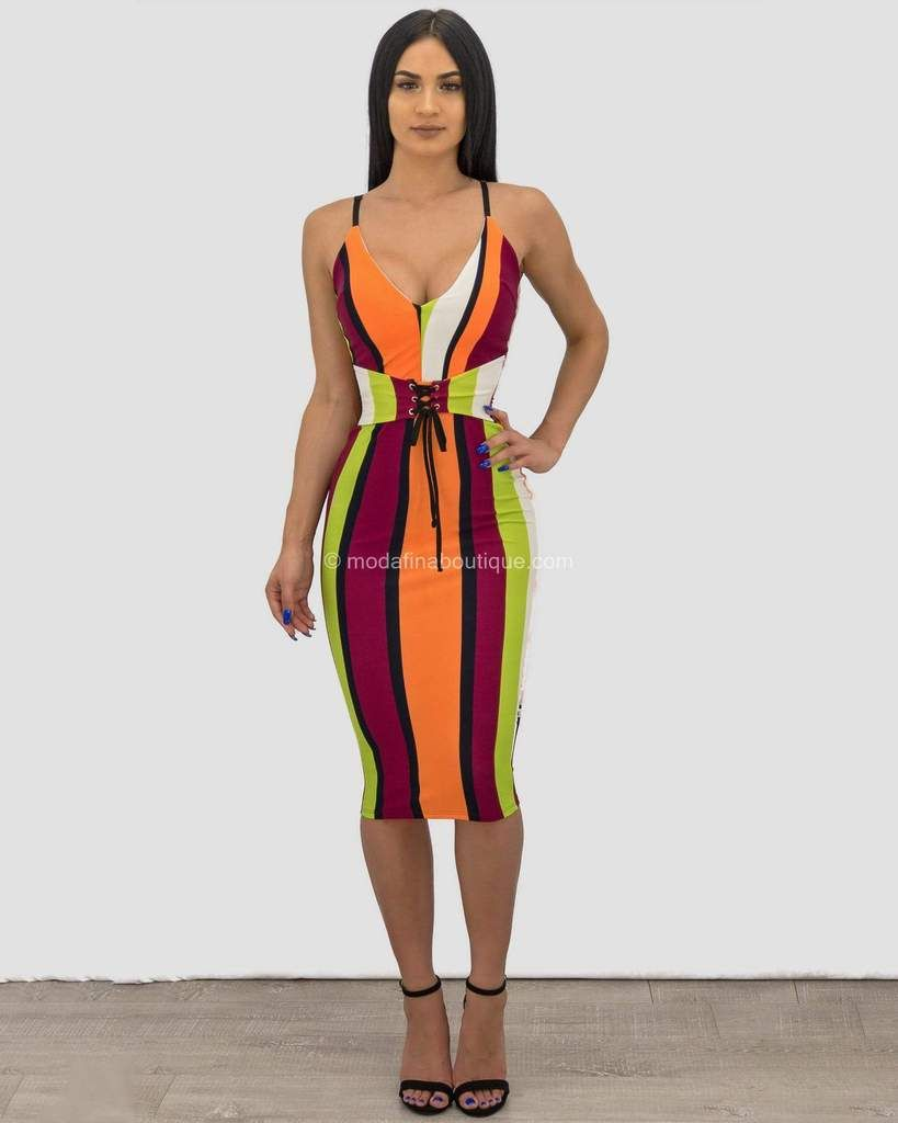 e22e23015986 Chloe Sleeveless Front Strap Tie Striped Midi Dress - Moda Fina Boutique -  modafinaboutique.com