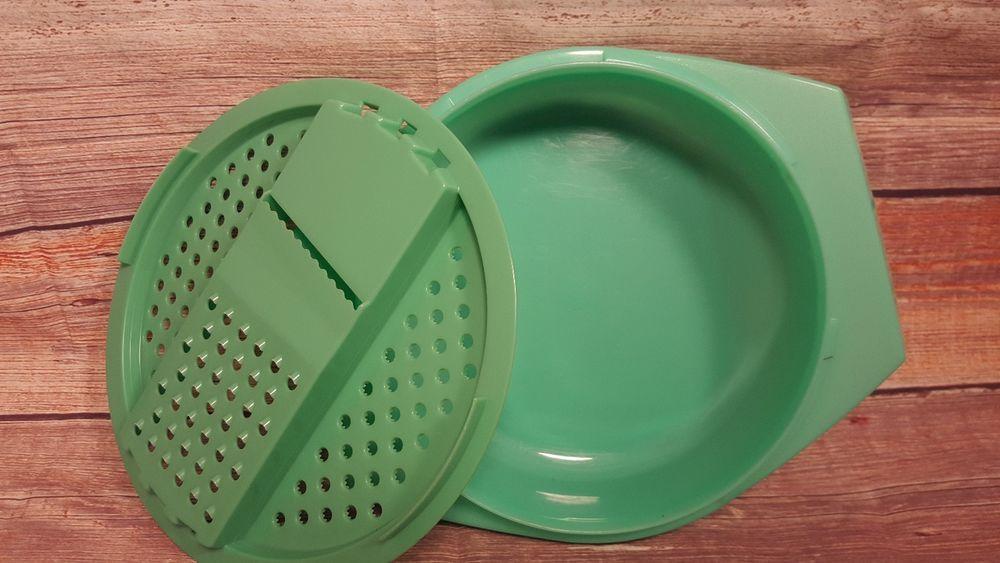 Vintage Tupperware Jadite Green Grater Shredder Slicer With Bowl 2 Pc 786 8 Vintage Tupperware Jadite Green Tupperware