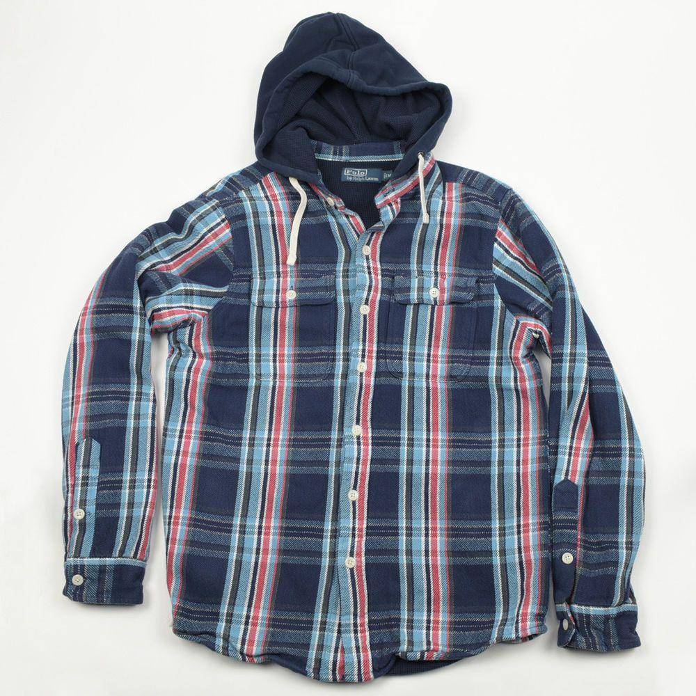 1adb37c05 Polo Ralph Lauren Plaid Flannel Button Down Hoodie Jacket 100% Cotton  Medium M