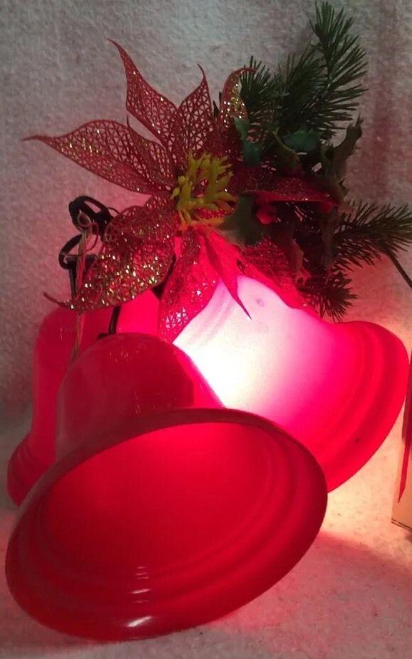 Vintage Twinkle Lighted Christmas Bells 3 Hard Plastic Pointsettia Holly - Vintage Twinkle Lighted Christmas Bells 3 Hard Plastic Pointsettia
