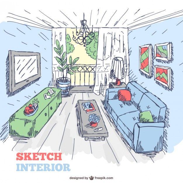 Living Room Sketch Interior Doodle Free Vector Sketches Doodles