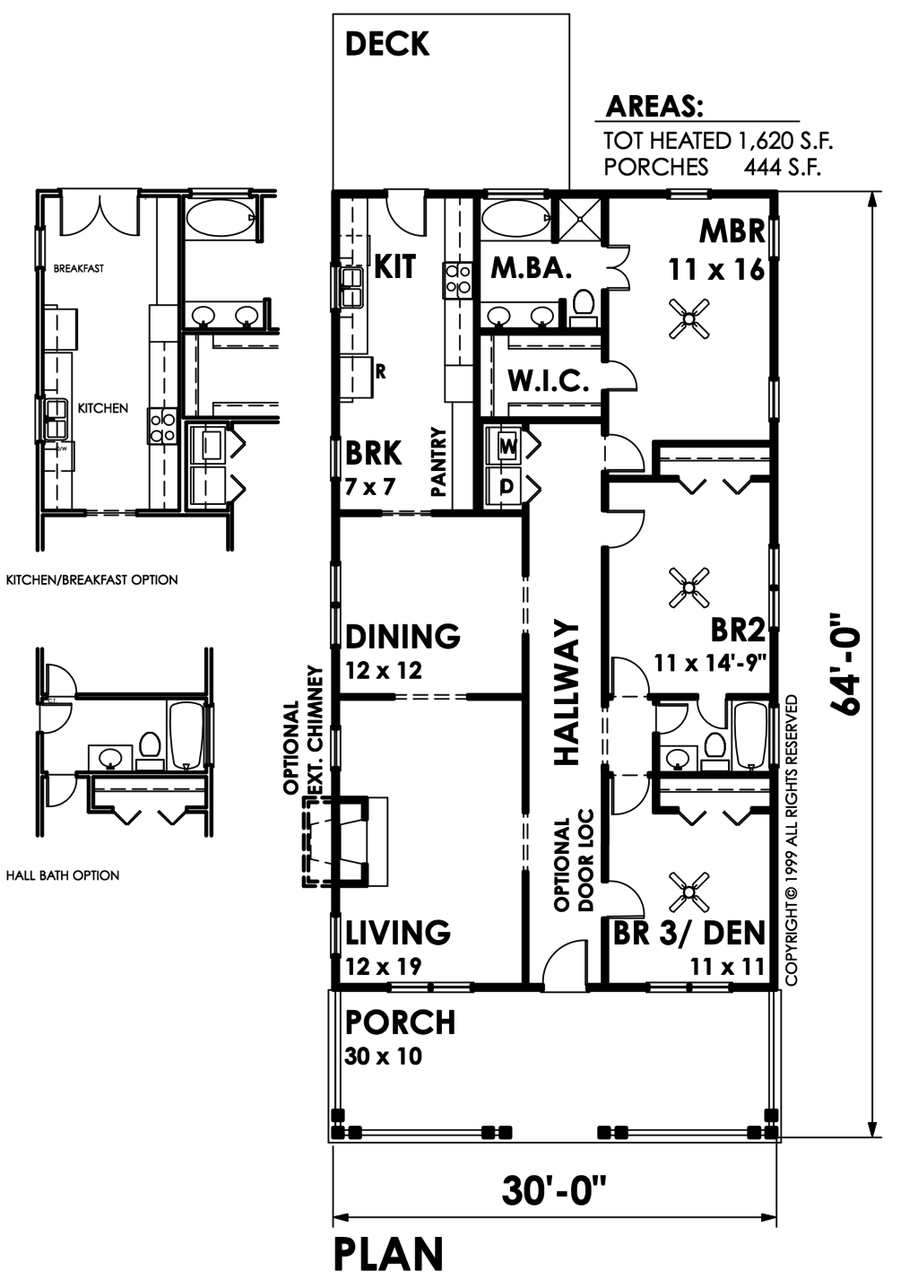 Bungalow Style House Plan 3 Beds 2 Baths 1620 Sq Ft Plan 30 209 Bungalow Style House Plans Cottage Style House Plans House Plans