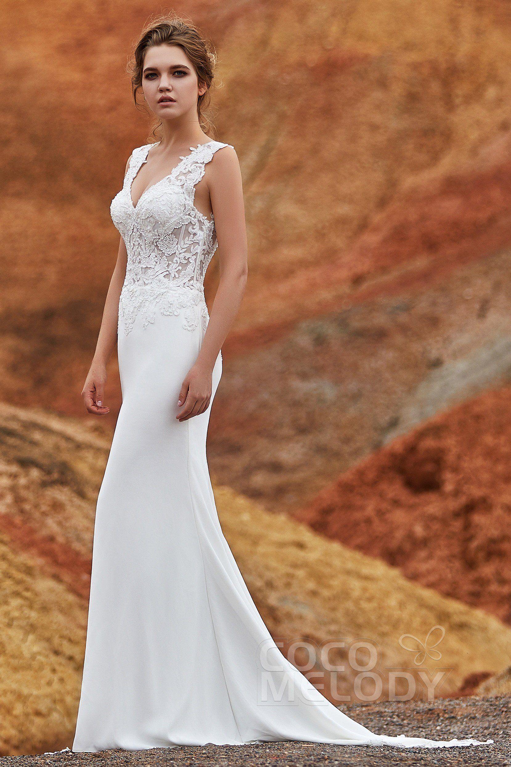 e1a53f79d48a4 Trumpet-Mermaid Chapel Train Knitted Fabric Wedding Dress #LD5816 # cocomelody #weddingdress #mermaidweddingdress #2019newcollection