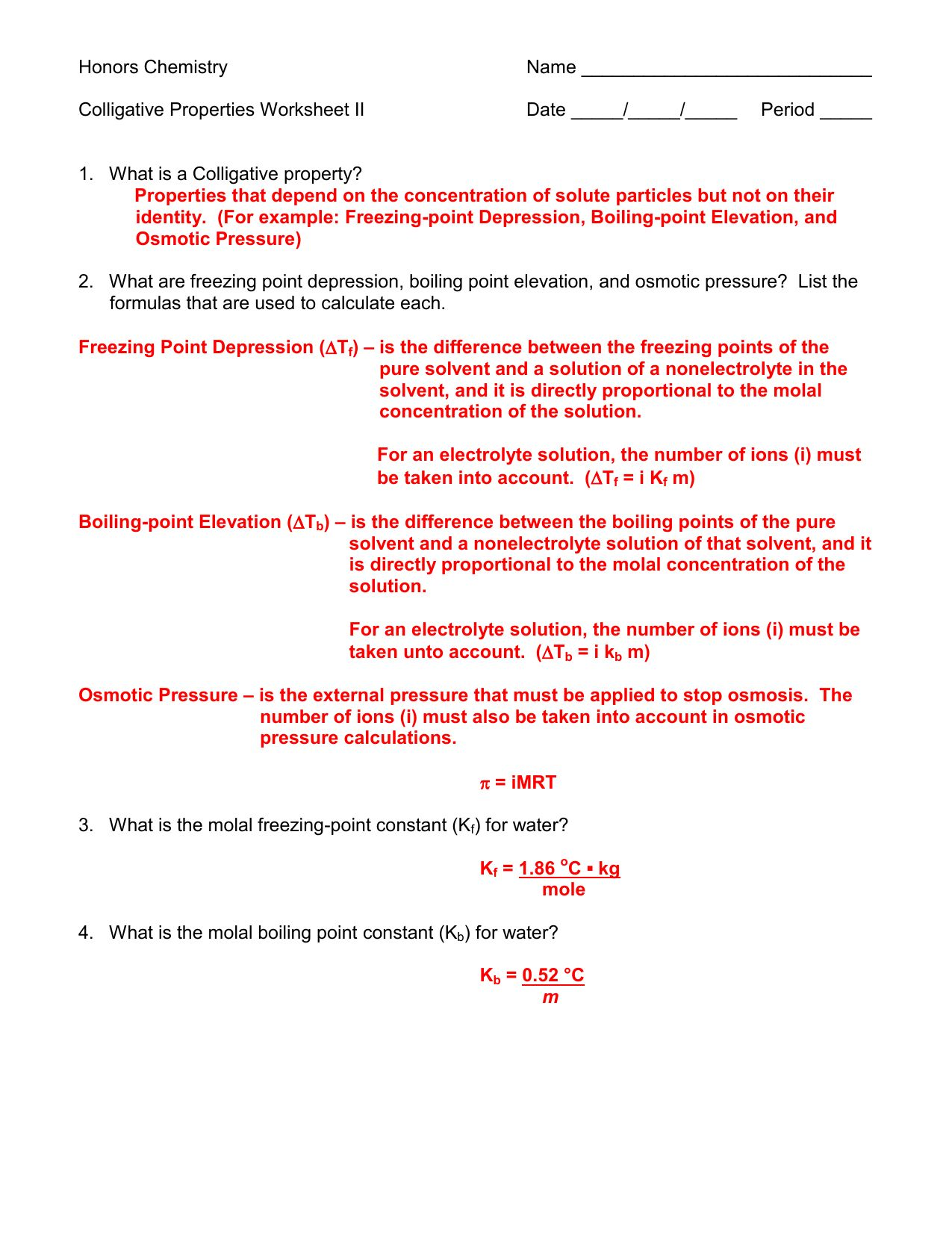 Section 16 3 Colligative Properties Of Solutions Worksheet