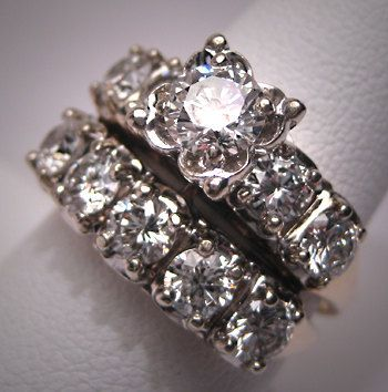 Vintage Diamond Wedding Ring Set White Gold Three Carats 1930s 1950s Always Wan Wedding Ring Sets Vintage Antique Wedding Rings Sets Antique Wedding Rings