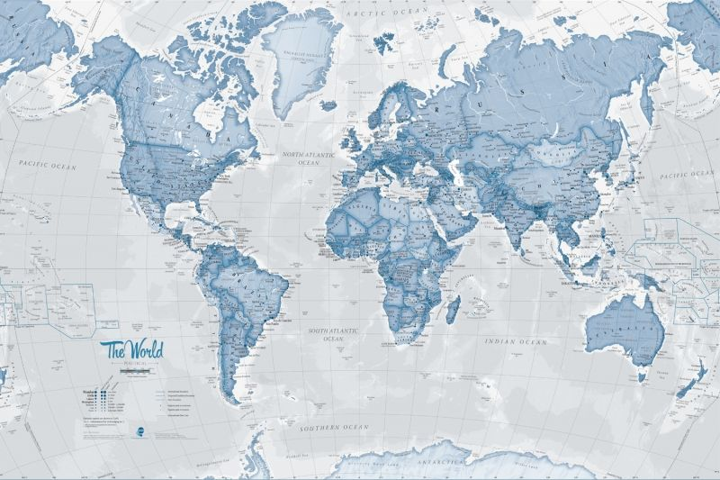The World in Blue Map Wall Mural Wall murals, Wallpaper and Walls - best of world map for wall mural