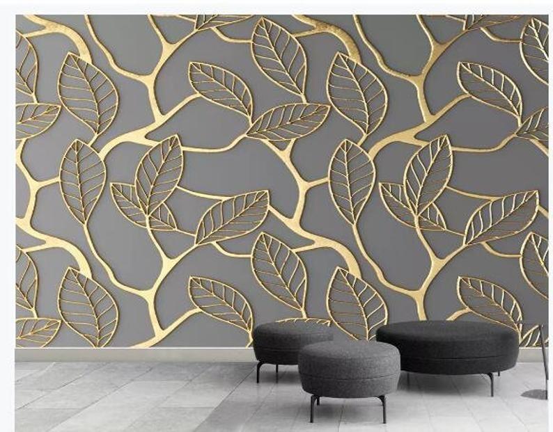Handpainted Gold Leaveswallpaper Beautiful Gold Tropical Etsy Wallpaper Interior Design Wallpaper Living Room Custom Photo Wallpaper