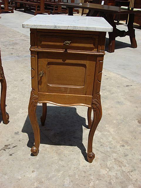 French Antique Marble Top Night Stand Side Table Lamp
