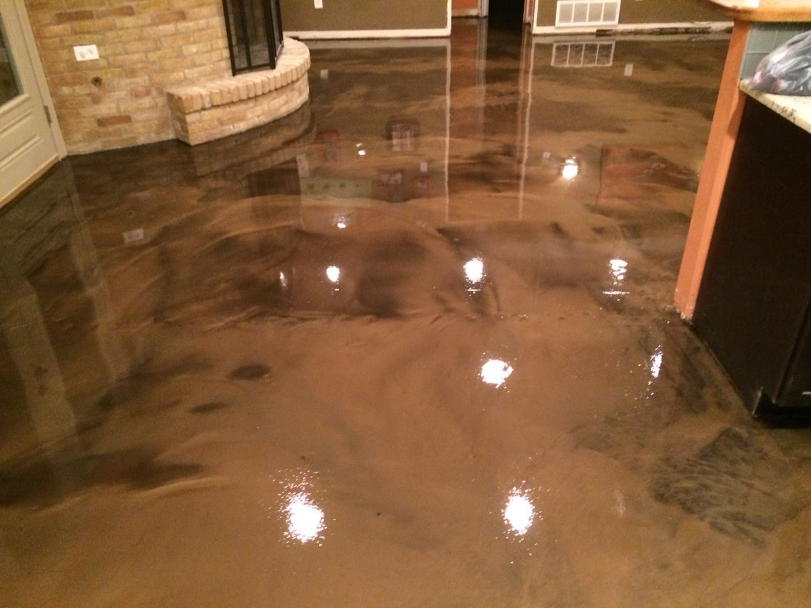 Metallic epoxy floor in Coffee color. Abilene, Texas