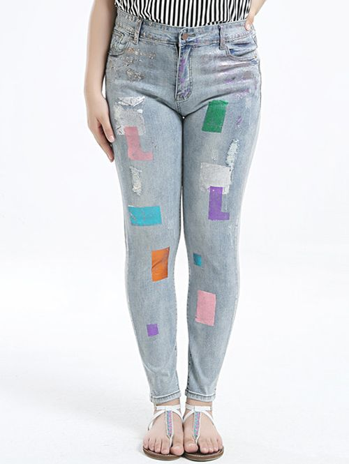 Plus Size Stylish Gilding Skinny Jeans