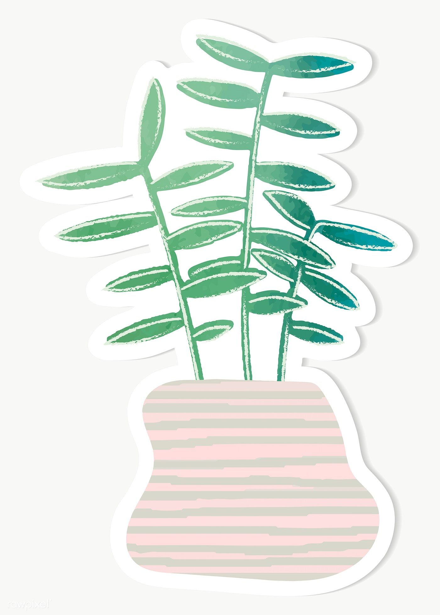 Download Premium Png Of Watercolor Tropical Potted Plant Sticker 2023028 Plants Cactus Design Stickers