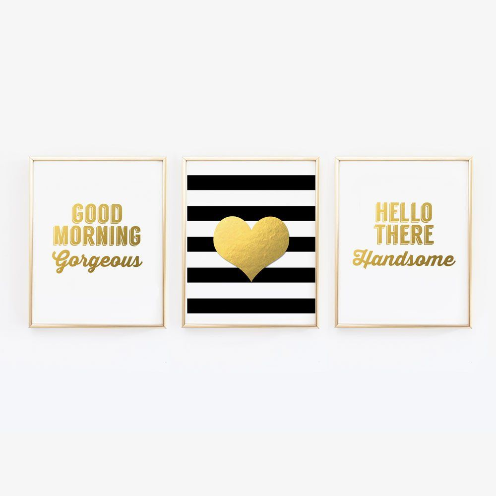 Good morning gorgeous hello there handsome heart set of wall