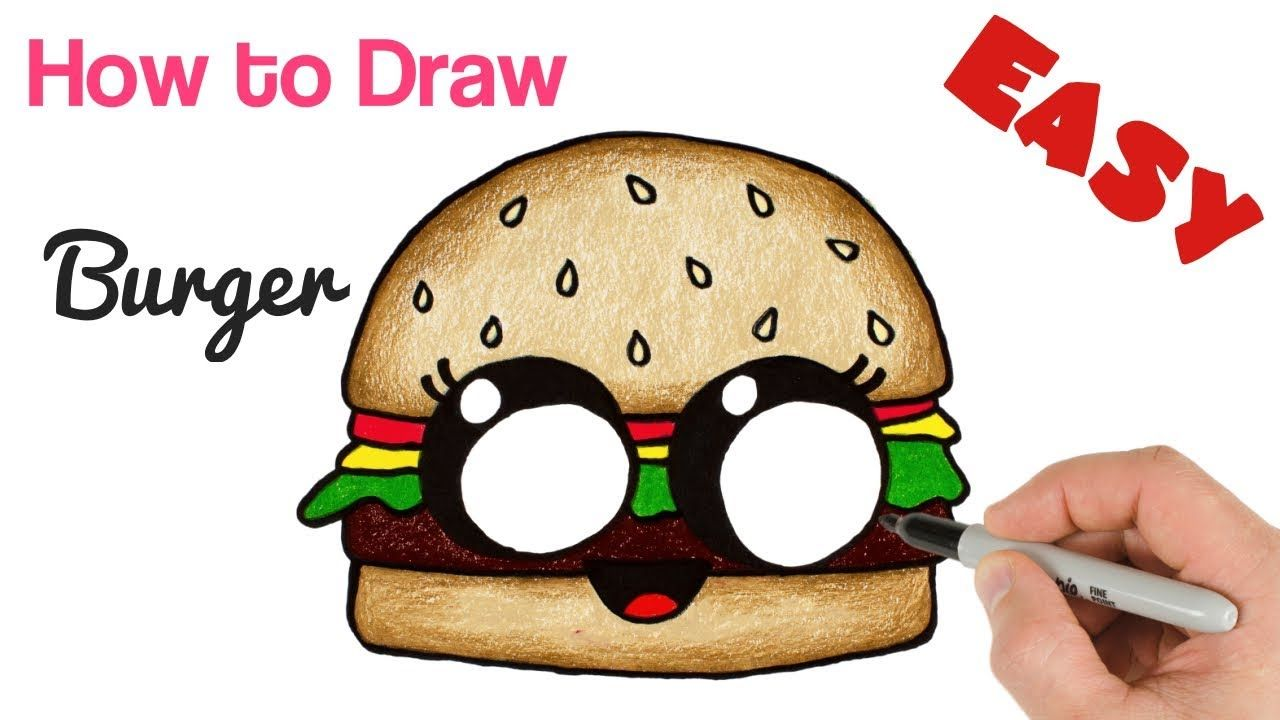 How to draw cartoon burger cute and easy funny cheeseburger drawing