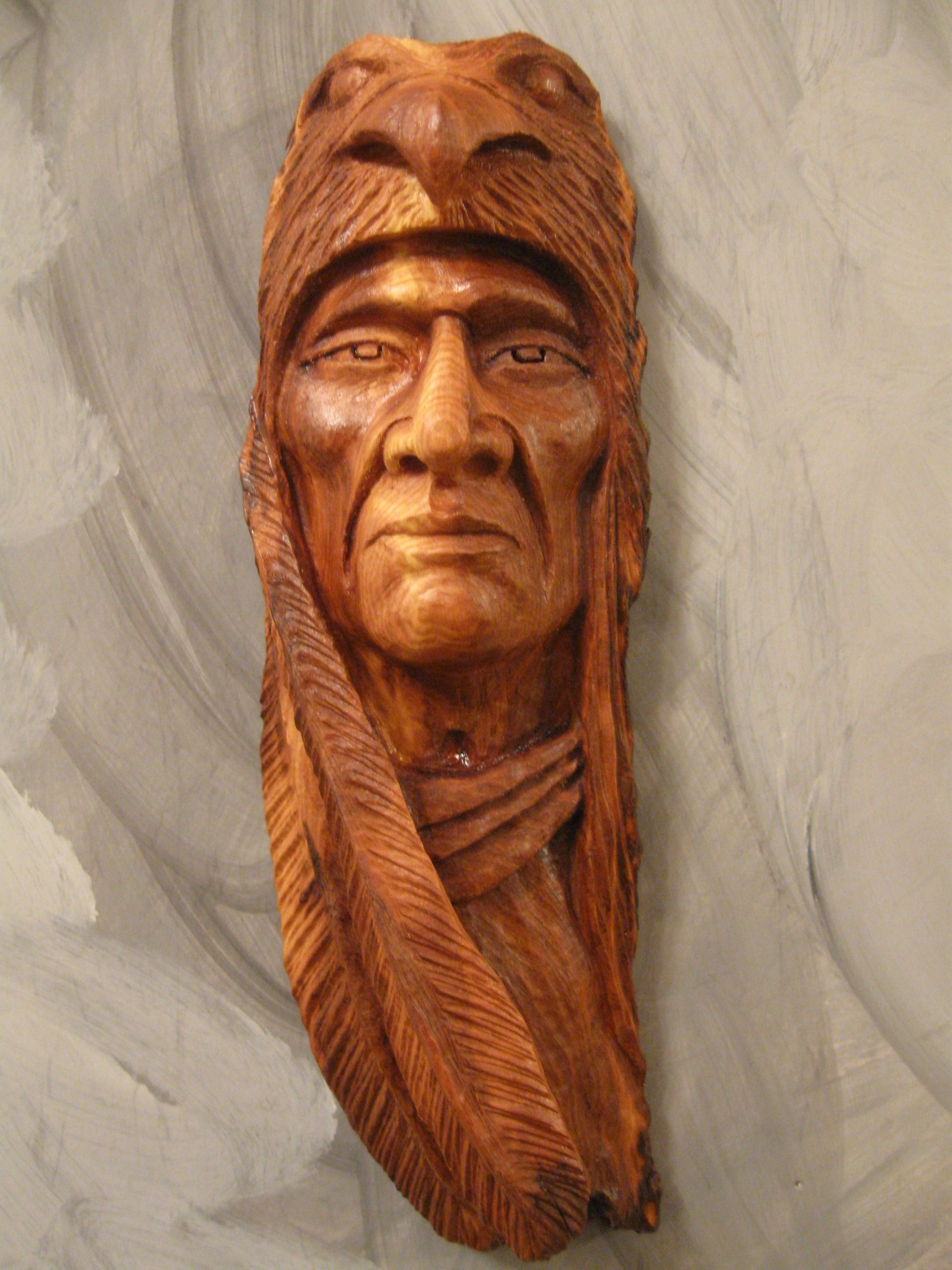 Wood Carving Faces Carving Indian Face