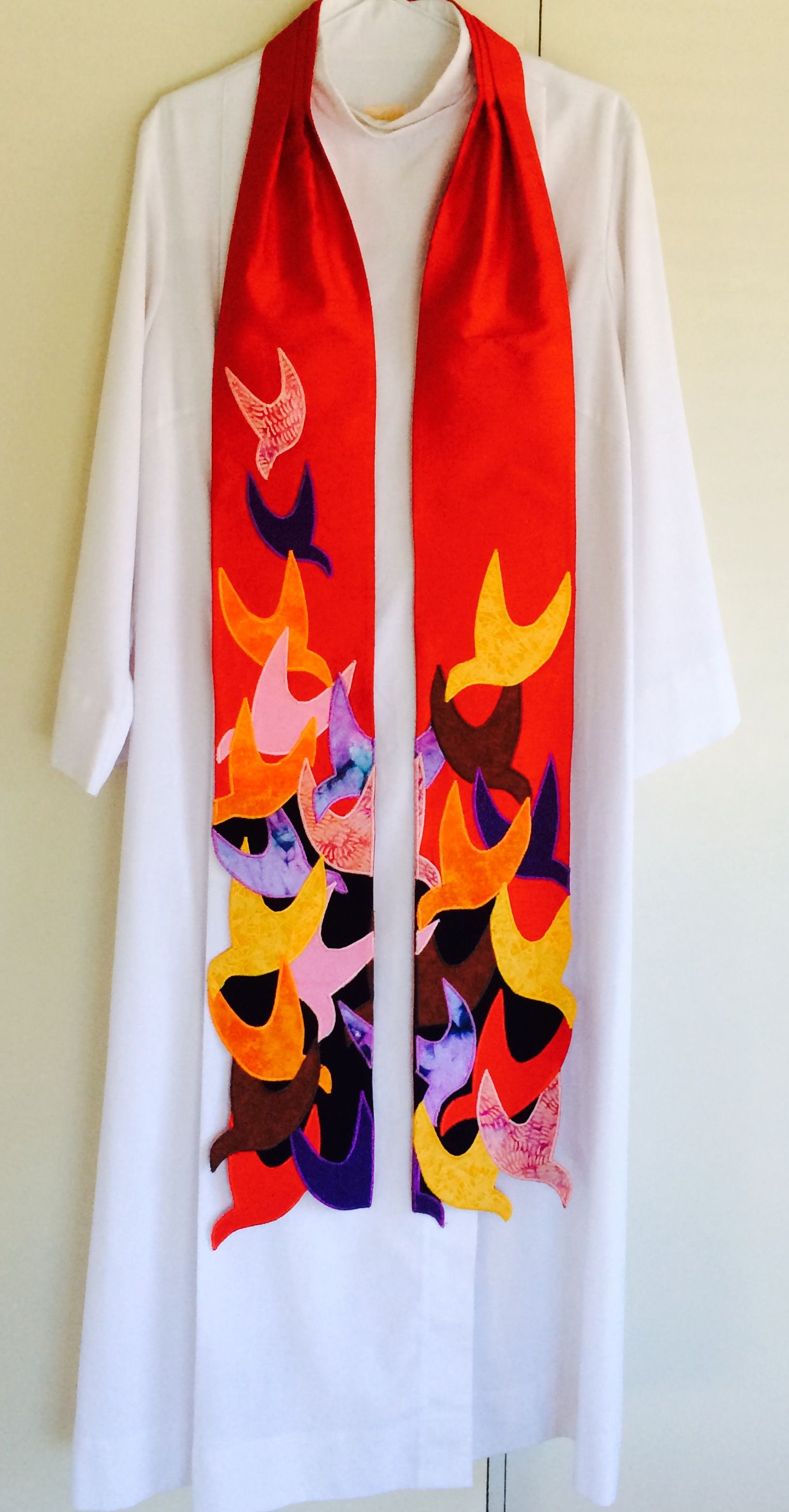 Filled With The Spirit Flames As Doves And Dove As Flame The Dove Represents The Holy Spirit Great For Penteco Liturgical Stoles Church Banners Priest Stole