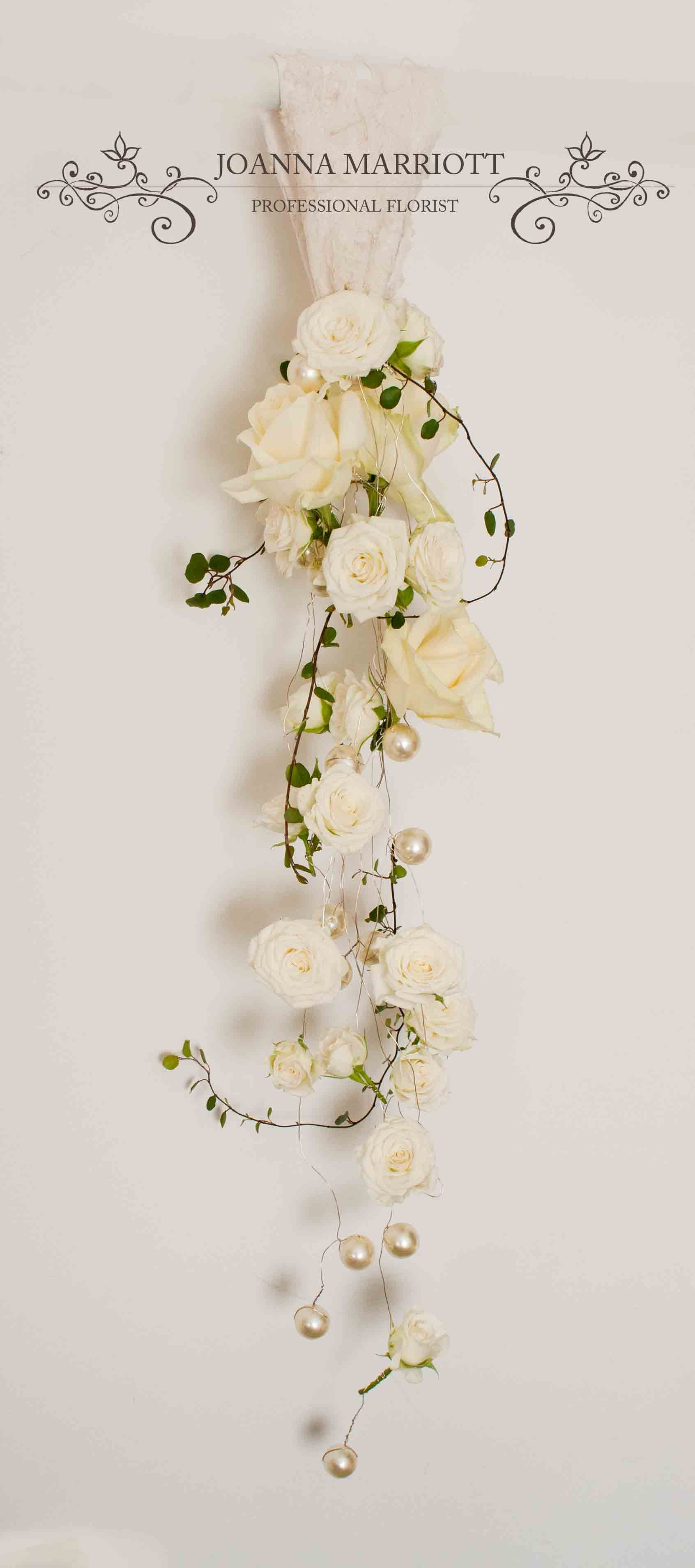 Wrist Bridal Bouquet Long Trailing Bridal Bouquet Made Of White