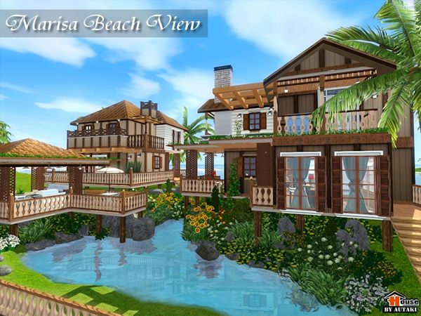 The Sims Resource Tsr Marisa Beach View Resort House Style By Autaki Sims 3 Downloads Cc Caboodle Beach House Plans Sims House Design House Styles