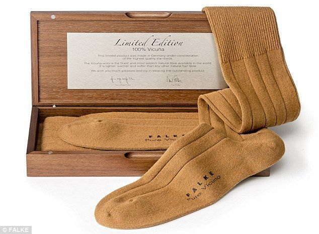 £726 vicuña pair of socks The socks, which come with their own presentation box, are only available in golden-brown as the vicuña, an illama-like camelid that hails from Peru, produces wool so delicate that the dyeing process would damage it beyond repair.