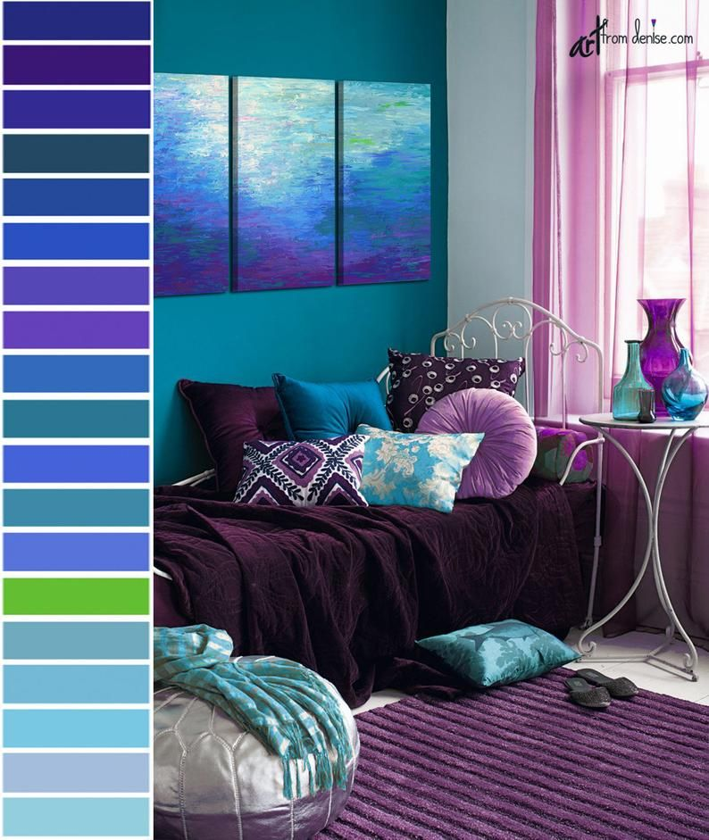 Blue Purple Abstract 3 Piece Wall Art Canvas Triptych Print Set Living Room Wall Decor Dining Room Pictures Bedroom Artwork Purple Living Room Bedroom Color Schemes Bedroom Decor