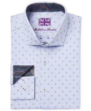 Michelsons of London Men's Slim-Fit Blue Square-Print Dress Shirt - Blue L