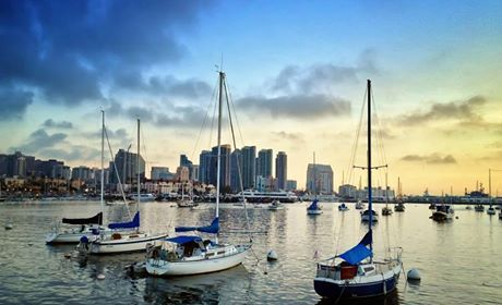 Talk about a view! Sailboats on San Diego Bay and the city