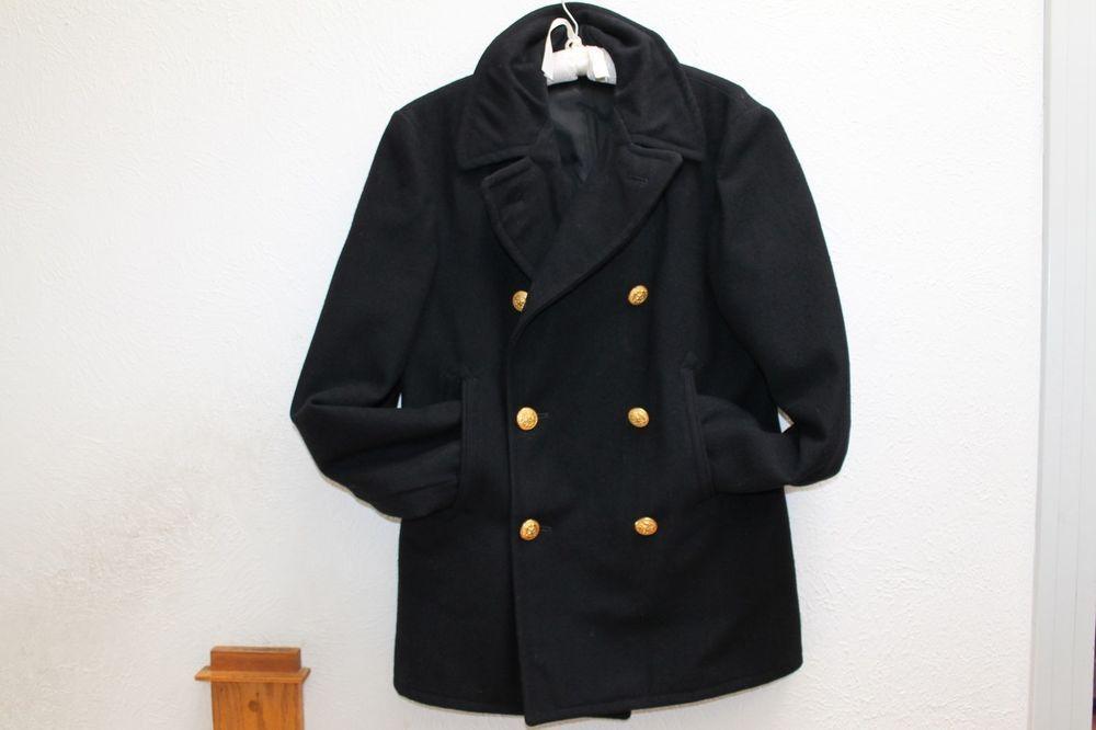 987acfc43 Details about Navy Pea Coat 1960s Vietnam War Era Size 36 Corduroy ...