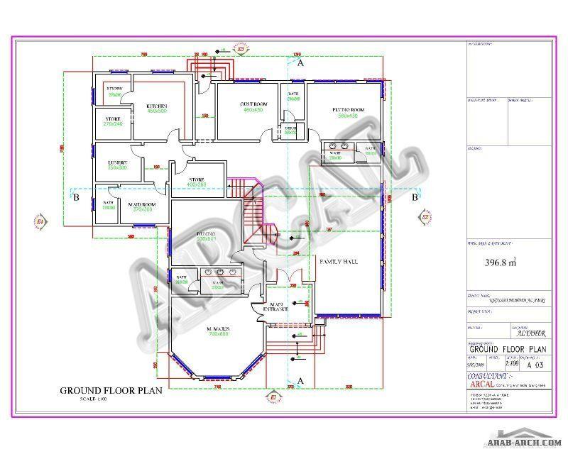مخطط فيلا من اركال الدور الارضى 378 متر مربع Villa Design New House Plans House Layouts