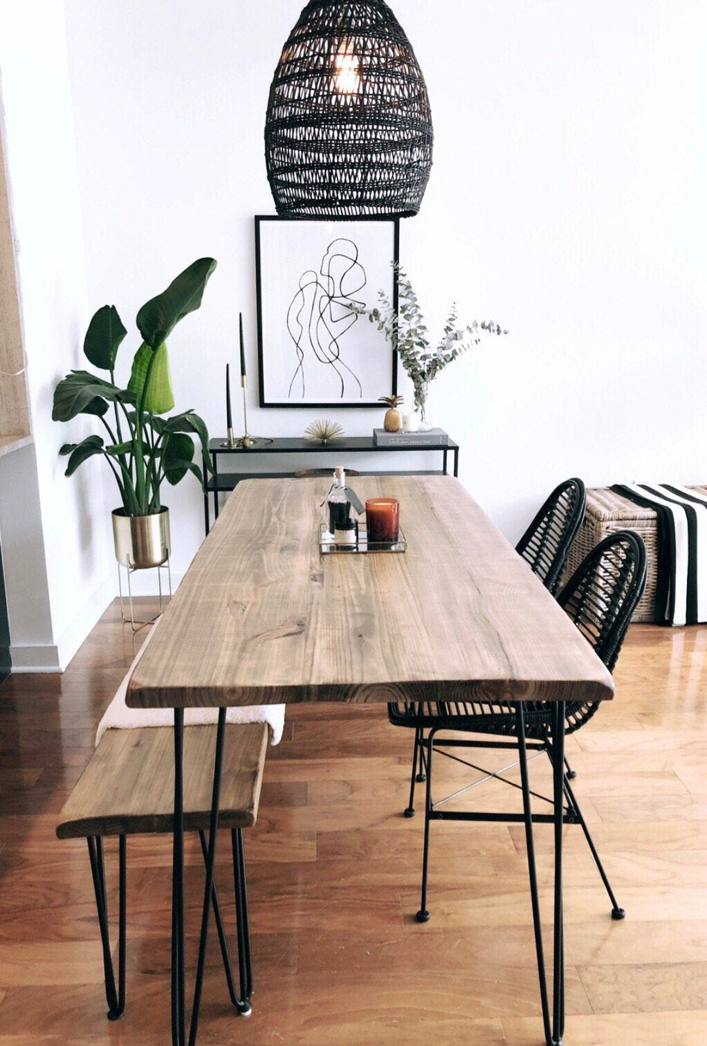 Reclaimed Wood & Metal Dining Table - Boho Dining Table
