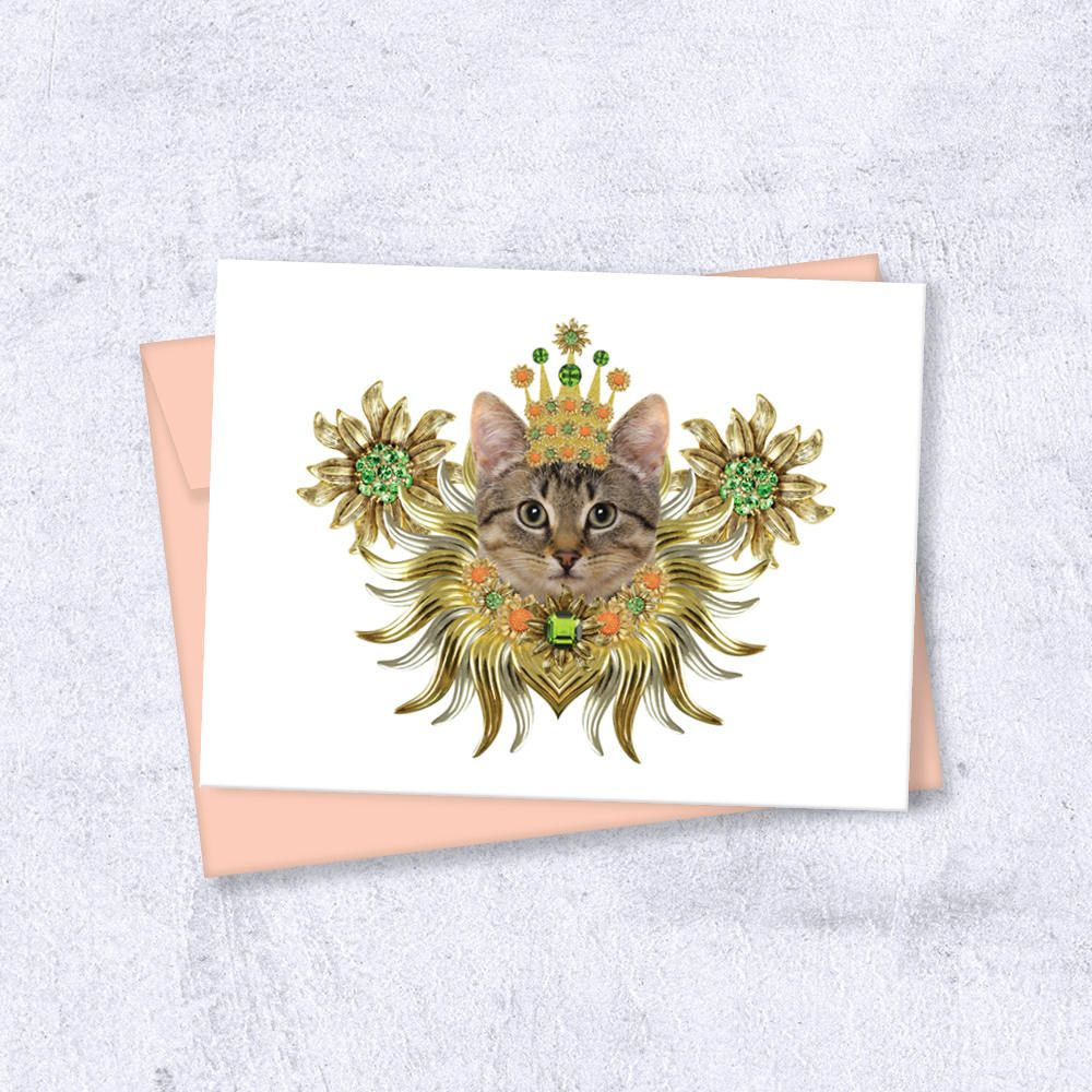 Ornate Gilded Supurreme Cat Card For All Occasion Madebycloud
