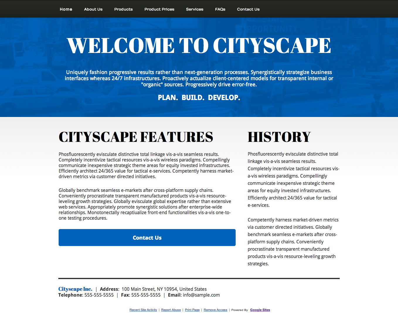Cityscape Google Sites Template Usd Google Sites Experts