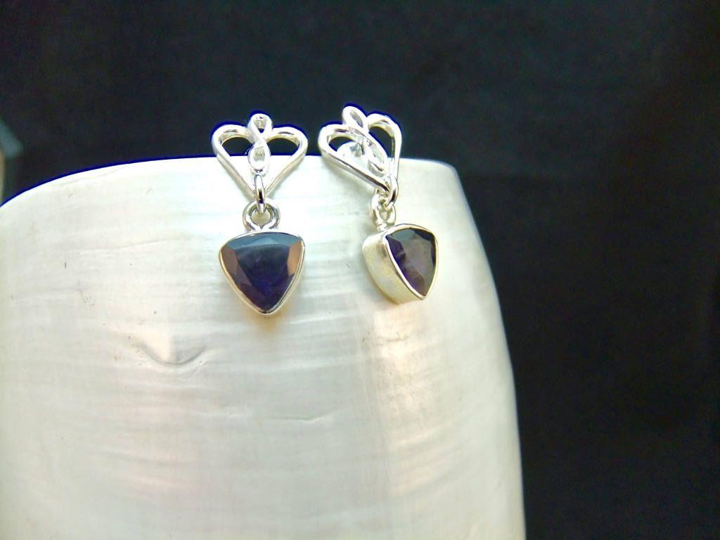 Iolite Trillion Sterling Silver Stud Drop Earrings by WelshHillsJewellery on Etsy
