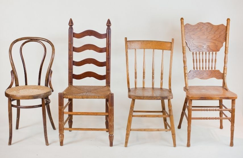 Natural Wood Dining Chairs: Mismatched Dining Chairs In Shades Of Medium  And Dark Natural Wood. Add Our Mismatched Floral Seating Cushions For A  Comfy ...