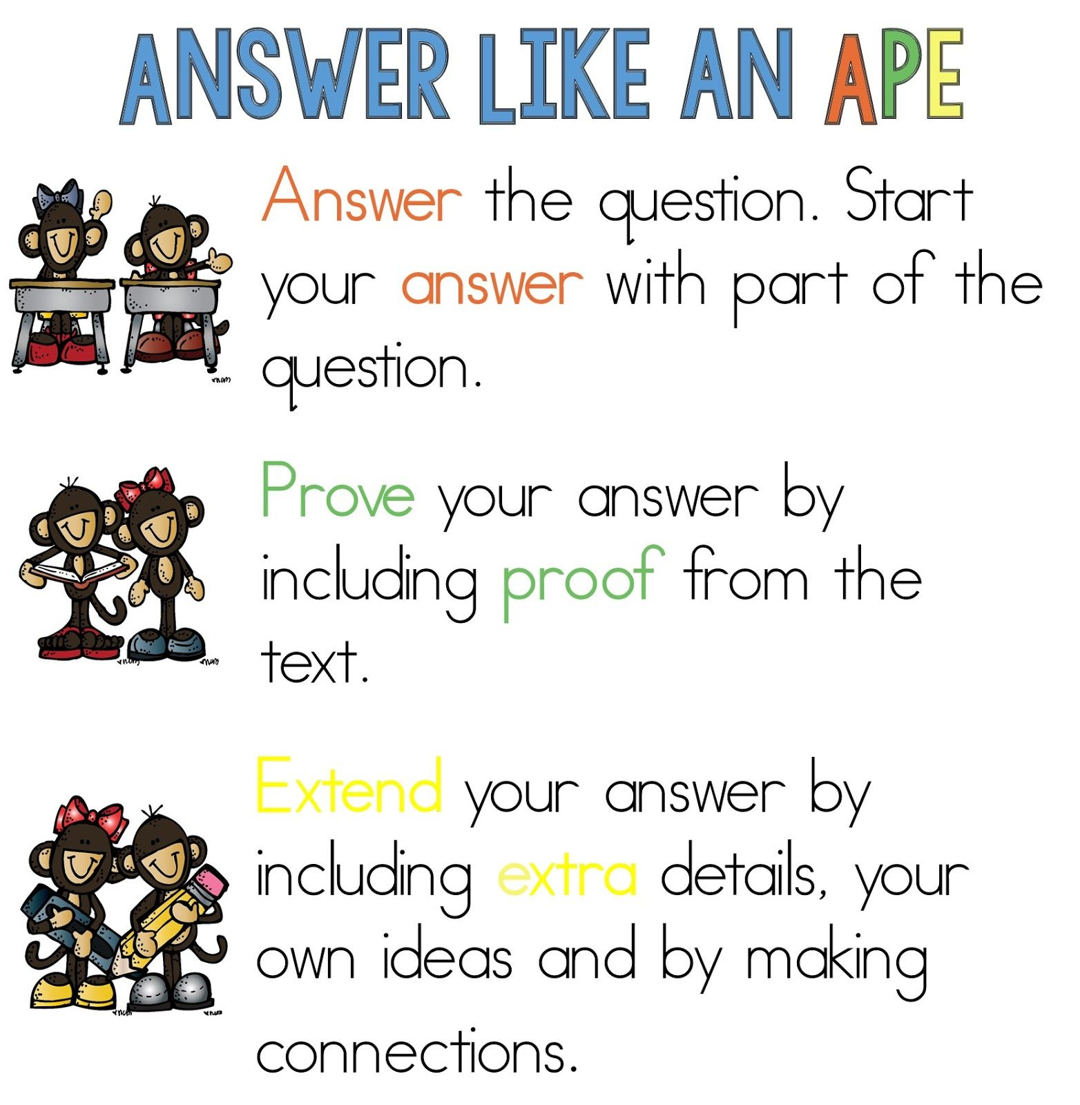 Acronym To Help Remember How To Write Quality Answers To Reading Questions