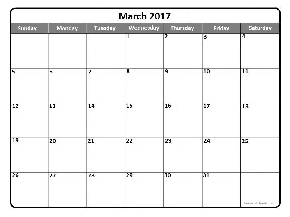 March 2017 Printable Calendar Template | 2017 Printable Calendars