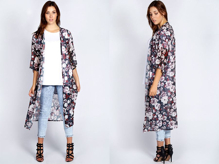 Plus size fashion: Boohoo Plus Martine Dark Floral Long Kimono ...