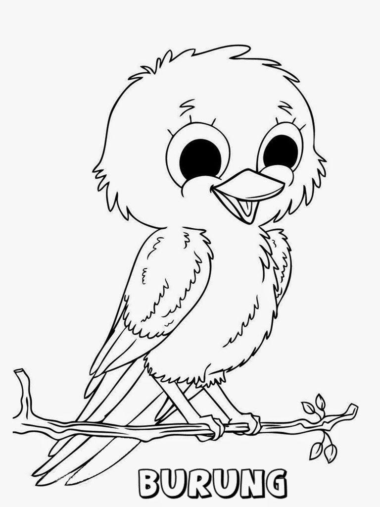 Mewarnai Gambar Anak Burung Lucu Mewarnai Pinterest