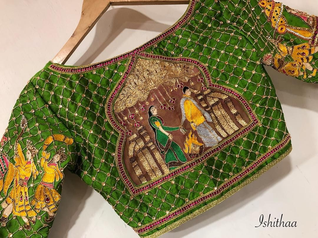 aee7a66f9c8001 The South Indian Style is what I call it :) Beautiful green color designer  blouse with bride and bride groom design hand embroidery thread work.