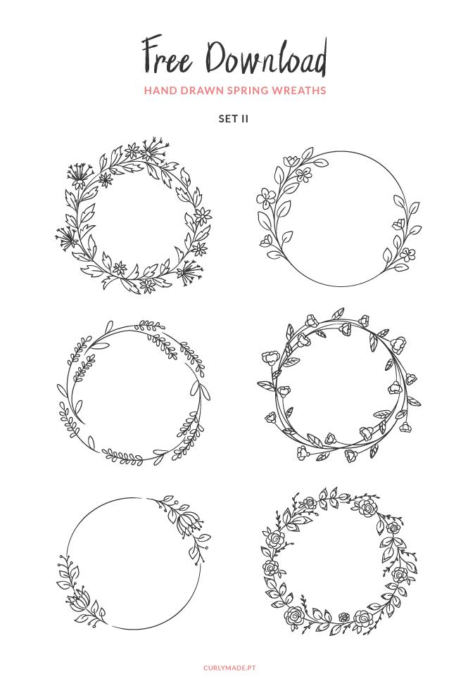 Free Download: Hand Drawn Spring Wreaths II