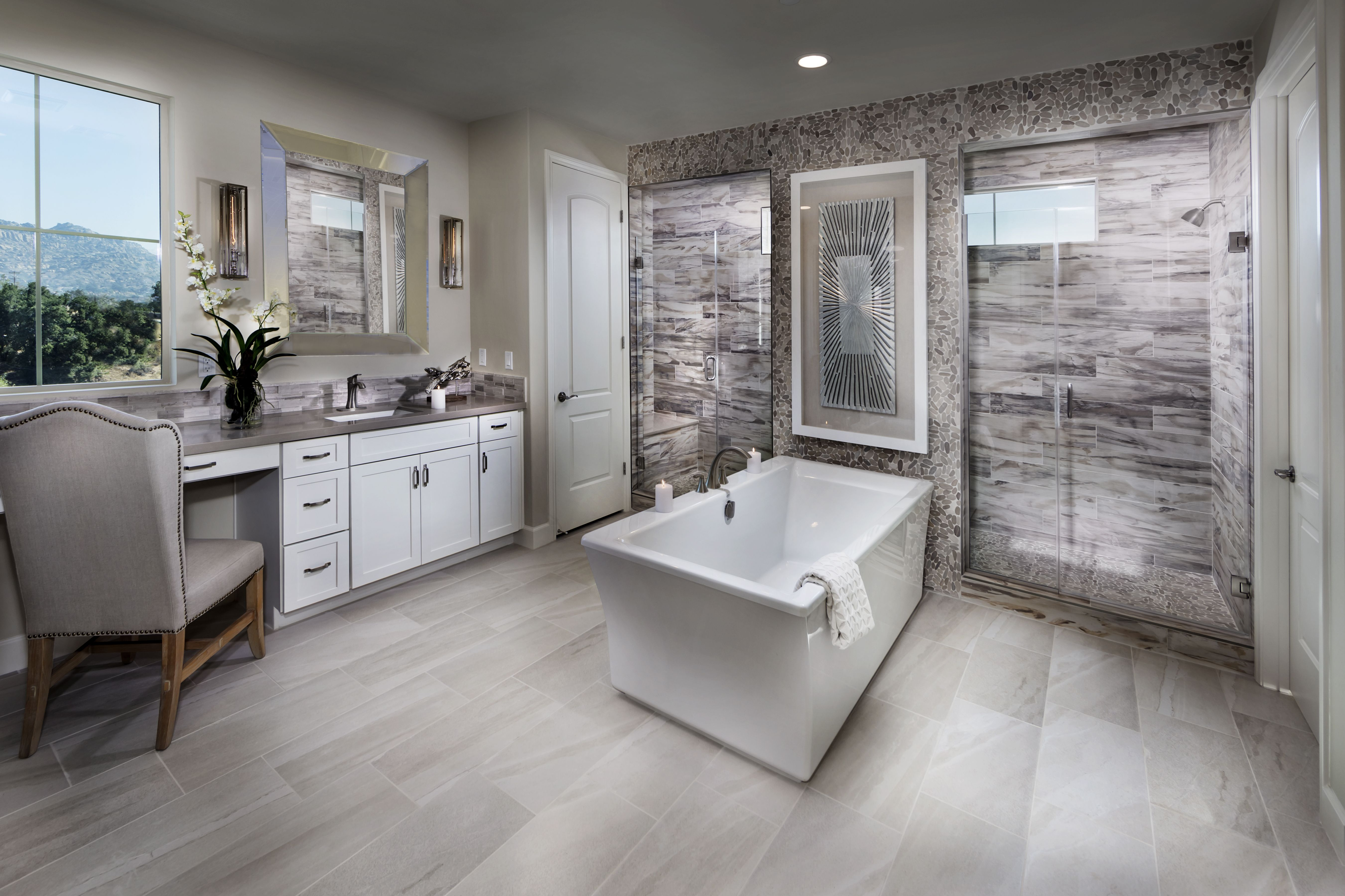The Modern Tiles And Wood In This Sleek Gray Bathroom