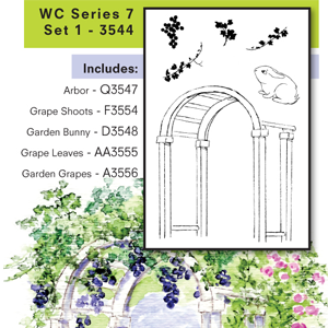 IncludesQ3547 - Arbor,F3554 - Grape Shoots,D3548 - Garden Bunny,AA3555 - Grape Leaves,A3556 - Garden Grapes