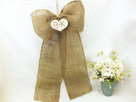 Burlap Wedding Bows With Initial Hearts Use only on the first two pews at the wedding for a added personal touch! By ButterBeanVintage On Etsy