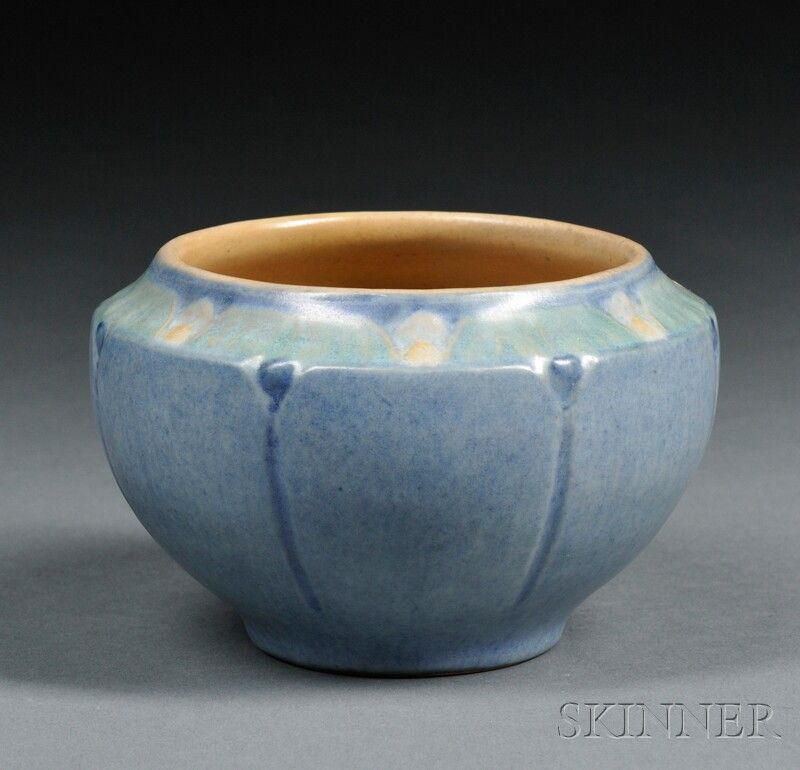 Newcomb Pottery Decorated Vase  Art pottery  New Orleans, Louisiana  Decorated shoulder on blue body with incised trailing darker blue stems, marked Nc ON 45, and M for the potter Joseph Meyer,