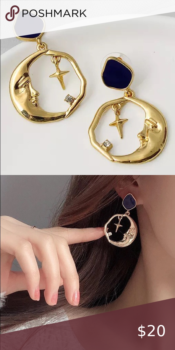 Blue Enamel Moon and Star Set in Gold Sweater Pins