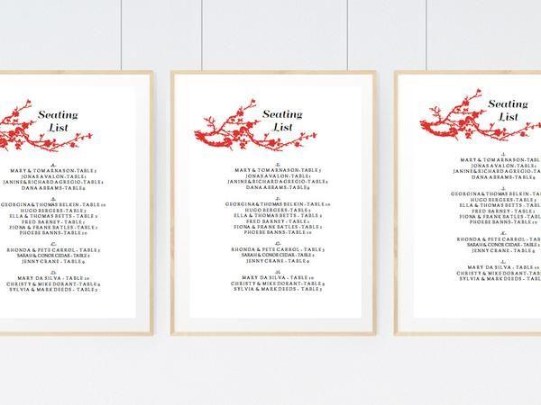 Printable Wedding Seating Sign - Gong Xi Table numbers, Wedding - free printable seating chart