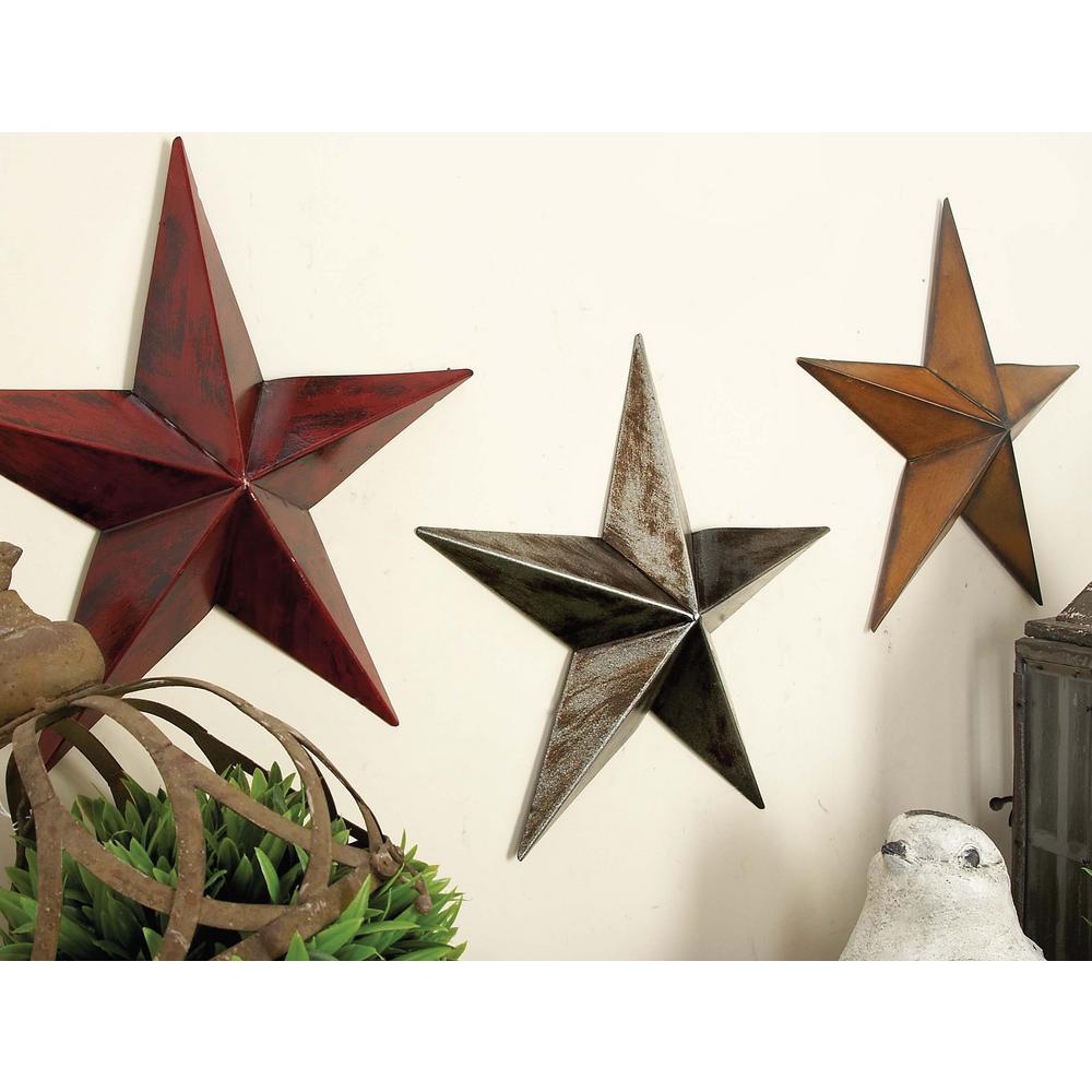 Litton Lane White Red And Orange Iron Barn Star Wall Sculptures