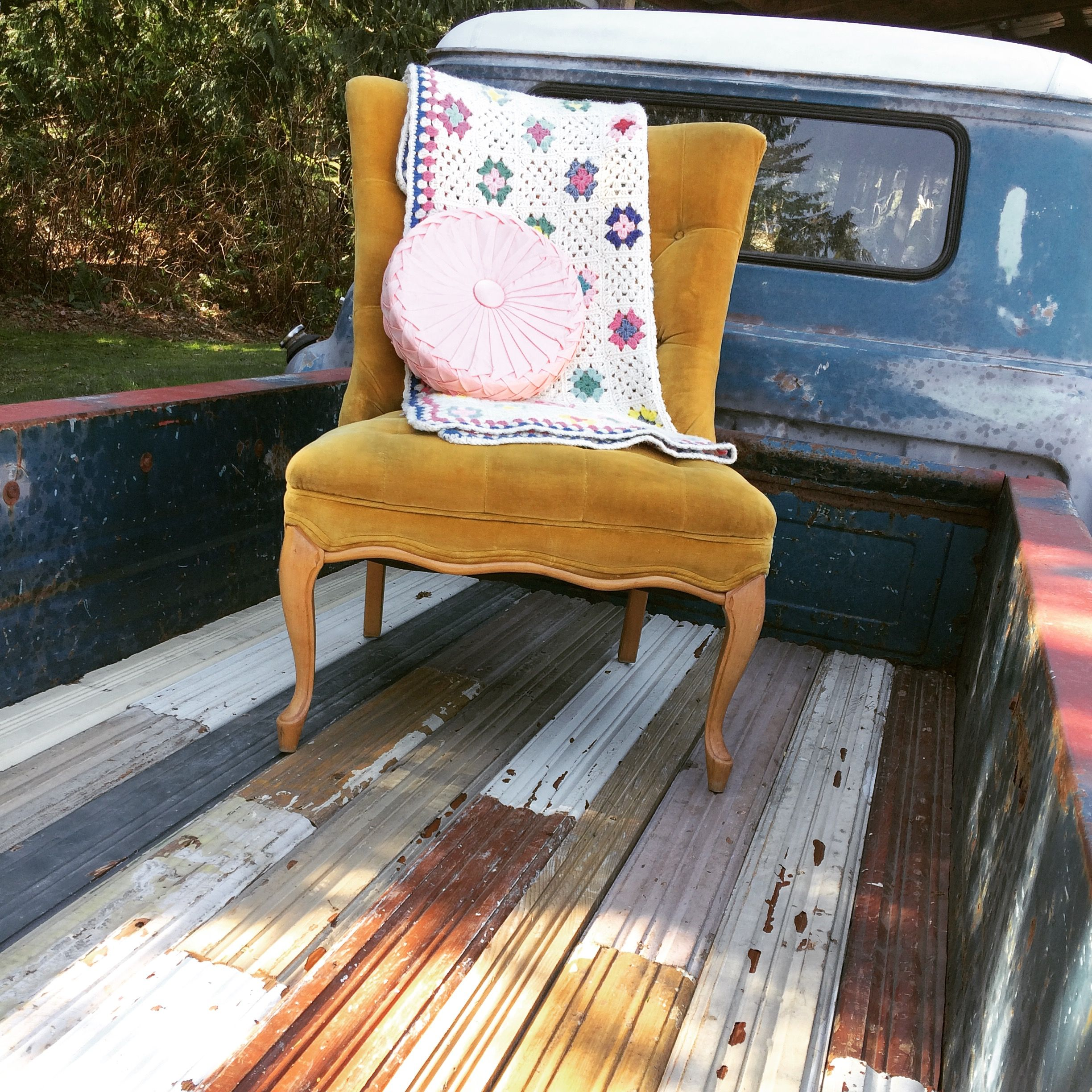 Reclaimed wood for the bed liner of '55 Chevy truck Bed