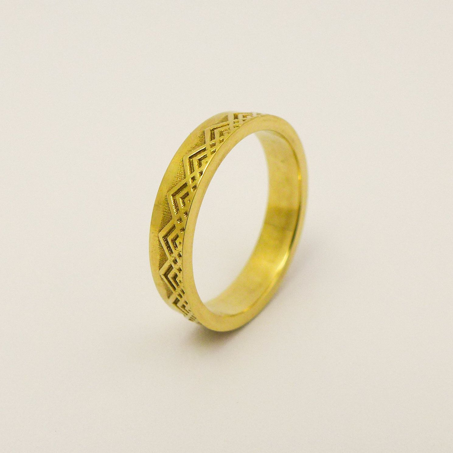 Wide Wedding Band, Patterned Wedding Band for Men and