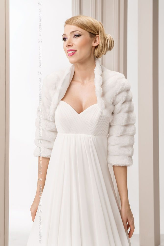 New Womens Wedding White Faux Fur Shrug Bridal Bolero Jacket Coat S M L Xl