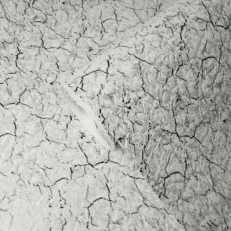 Wallpaper Textured Modern Faux Cracked Plaster Lines White Grey Black Silver 3d Wallcoverings In 2020 Textured Wallpaper Buy Wallpaper Online Wallpaper