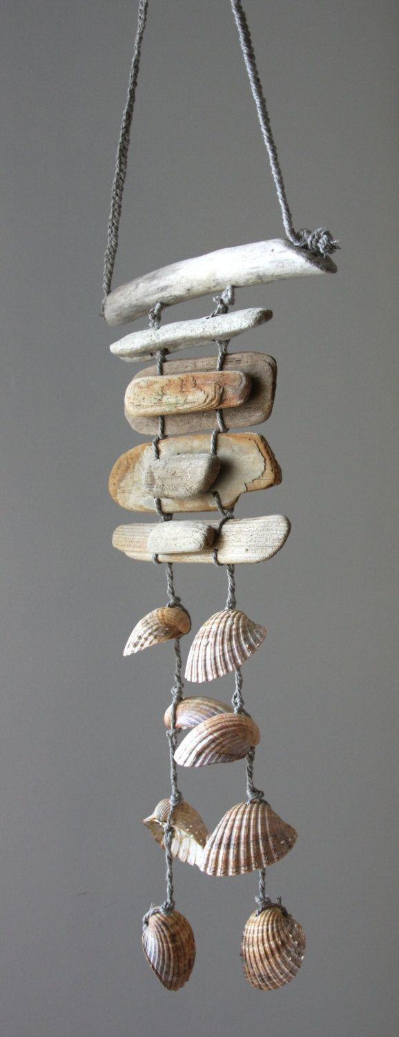 Driftwood sea shell mobile beach wind chime by for Shell wind chimes diy